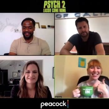 A scene from Bleeding Cool's interview with the cast from Psych 2: Lassie Come Home