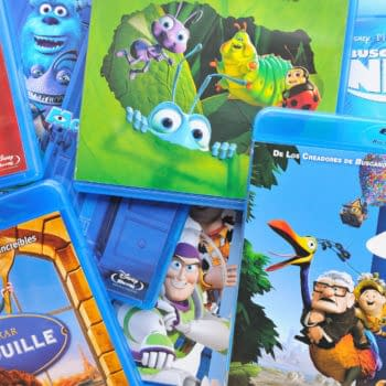 A collection of films by Disney Pixar Animation Studios on Blu-ray, including Finding Nemo, Up, Wall-e, Toy Story, Monsters and Ratatouille. Editorial credit: Christian Bertrand / Shutterstock.com