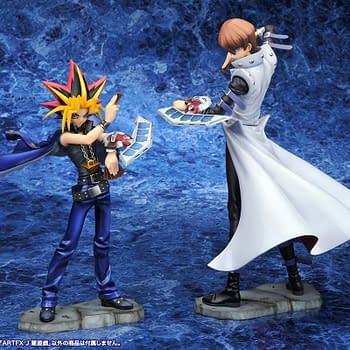 Yu-Gi-Oh and Seto Kaiba Play Their Hands with Kotobukiya Statues