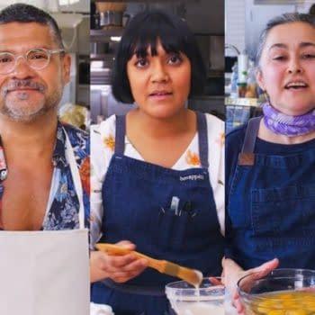 Bon Appetit Test Kitchen stars (left to right) Priya Krishna, Rick Martinez, Sohla El-Waylly, Gaby Melian, and Senior Editor Molly Baz (Images courtesy Bon Appetit/Conde Nast).