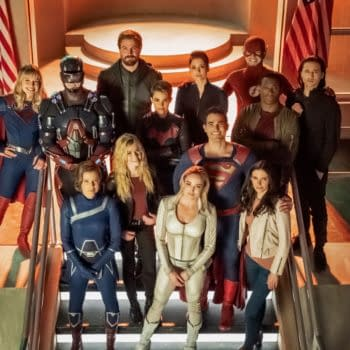 Supergirl -- ÒCrisis On Infinite Earths: Part OneÒ -- Image Number: SPG509b_BTS_0440r.jpg -- Pictured (L-R): Melissa Benoist as Kara/Supergirl, Brandon Routh as Ray Palmer/Atom, Stephen Amell as Oliver Queen/Green Arrow, Ruby Rose as Kate Kane/Batwoman, Chyler Leigh as Alex Danvers, Grant Gustin as The Flash, David Harewood as Hank Henshaw/JÕonn JÕonzz, Jesse Rath as Brainiac-5, (Bottom Row: Audrey Marie Anderson as Harbinger, Katherine McNamara as Mia, Caity Lotz as Sara Lance/White Canary, Tyler Hoechlin as Clark Kent/Superman and Bitsie Tulloch as Lois Lane -- Photo: Katie Yu/The CW -- © 2019 The CW Network, LLC. All Rights Reserved.