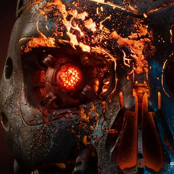 Terminator 2 T-800 is Battle Damaged with Pure Arts Art Mask