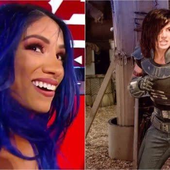 Will Sasha Banks and Gina Carano be mixing it up before The Mandalorian? (Images: WWE/Disney+)