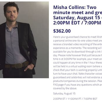 Misha Collins Costs $362 For 2 Minute Metaverse Online Meet-And-Greet