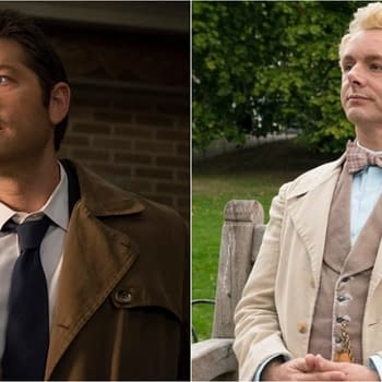 Supernatural: Michael Sheen Greets Misha Collins with Castiel Cosplay