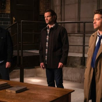 """Supernatural -- """"Our Father, Who Aren't in Heaven"""" -- Image Number: SN1508A_0093b.jpg -- Pictured (L-R): Jensen Ackles as Dean, Jared Padalecki as Sam and Misha Collins as Castiel -- Photo: Colin Bentley/The CW -- © 2019 The CW Network, LLC. All Rights Reserved."""