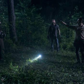 Andrew Lincoln as Rick Grimes, Melissa McBride as Carol Peletier, Matt Mangum as DJ, Rhys Coiro as Jed- The Walking Dead _ Season 9, Episode 3 - Photo Credit: Gene Page/AMC