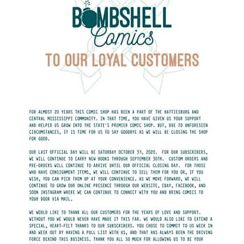 Bombshell Comics of Hattiesburg Mississippi Closes After 20 Years