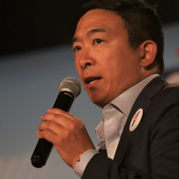 Sioux City, Iowa - July 19, 2019: Andrew Yang speaks to the crowd at a forum for presidential candidates. (Image: Rich Koele / Shutterstock.com)