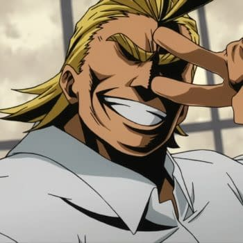 A look at All Might from My Hero Academia (Image: Funimation)