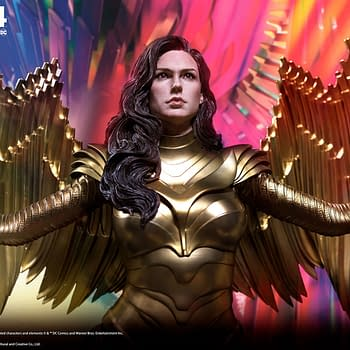 Wonder Woman Wears the Golden Eagle Armor in Queen Studios Statue