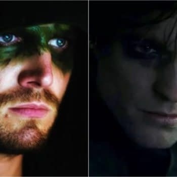 Here's Stephen Amell in ARROW and Robert Pattinson in THE BATMAN (Image: WarnerMedia)