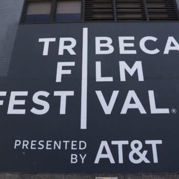 TRIBECA FILM FESTIVAL SIGN on Spring Studios Building in Tribeca Manhattan. Editorial credit: Chie Inoue / Shutterstock.com