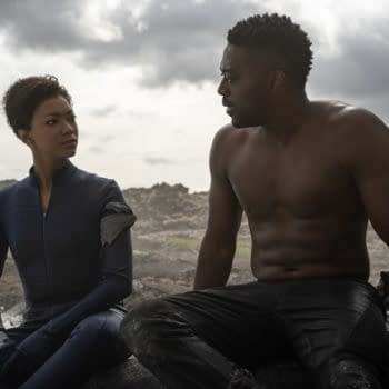 Pictured (L-R): Sonequa Martin-Green as Burnham; and David Ajala as Book; of the CBS All Access series STAR TREK: DISCOVERY. Photo Cr: Michael Gibson/CBS ©2020 CBS Interactive, Inc. All Rights Reserved.