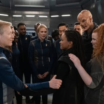 Pictured: Finally reunited, Burnham and the U.S.S. Discovery crew journey to Earth, eager to learn what happened to the Federation in their absence on the the CBS All Access series STAR TREK: DISCOVERY. Photo Cr: Michael Gibson/CBS ©2020 CBS Interactive, Inc. All Rights Reserved.