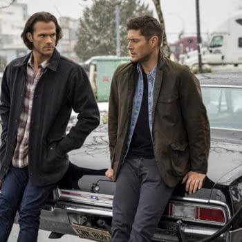 """Supernatural -- """"Gimme Shelter"""" -- Image Number: SN1515B_0248r.jpg -- Pictured (L-R): Jared Padalecki as Sam and Jensen Ackles as Dean -- Photo: Colin Bentley/The CW -- © 2020 The CW Network, LLC. All Rights Reserved."""