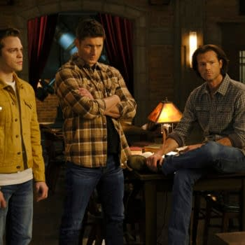 """Supernatural -- """"Unity"""" -- Image Number: SN1517A_0246r.jpg -- Pictured (L-R): Alexander Calvert as Jack, Jensen Ackles as Dean, Jared Padalecki as Sam and Emily Swallow as Amara -- Photo: Jeff Weddell/The CW -- © 2020 The CW Network, LLC. All Rights Reserved."""