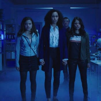 """Charmed -- """"Pilot""""-- Image Number: CMD101g_0002r.jpg -- Pictured (L-R): Sarah Jeffery as Maggie Vera, Madeleine Mantock as Macy Vaughn, Rupert Evans as Harry Greenwood and Melonie Diaz as Mel Vera -- Photo: The CW -- Ì?å© 2018 The CW Network, LLC. All Rights Reserved"""