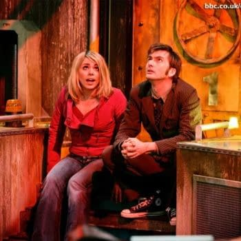 "David Tennant and Billie Piper in ""Doctor Who"", BBC Studios"