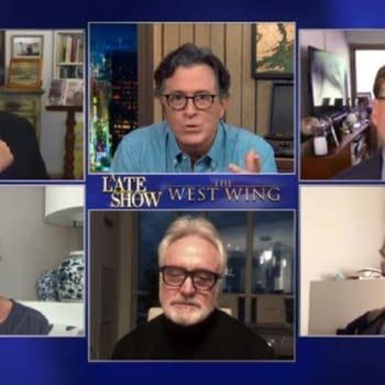 The West Wing cast, creator visit The Late Show with Stephen Colbert (Image: screencap)