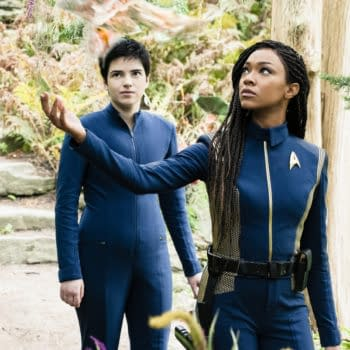 """""""Forget Me Not"""" — Ep#304 — Pictured: Blu del Barrio as Adira and Sonequa Martin-Green as Burnham of the CBS All Access series STAR TREK: DISCOVERY. Photo Cr: Michael Gibson/CBS ©2020 CBS Interactive, Inc. All Rights Reserved."""