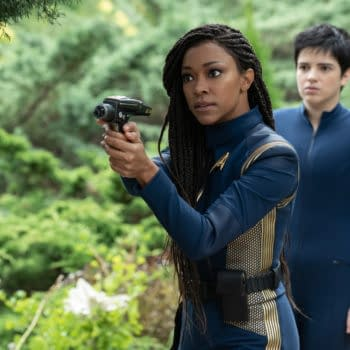 """""""Forget Me Not"""" — Ep#304 — Pictured: Sonequa Martin-Green as Burnham and Blu del Barrio as Adira of the CBS All Access series STAR TREK: DISCOVERY. Photo Cr: Michael Gibson/CBS ©2020 CBS Interactive, Inc. All Rights Reserved."""