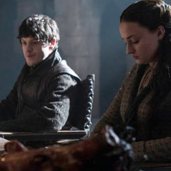 Iwan Rheon as Ramsey Bolton and Sophie Turner as Sansa Stark on Game of Thrones. Image courtesy of HBO/WarnerMedia