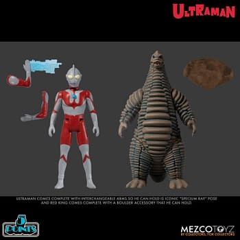 Ultraman Takes on the Red King In Mezco Toyz Boxed Set