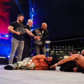 FTR stands above The Young Bucks on an episode of AEW Dynamite (Photo: AEW)