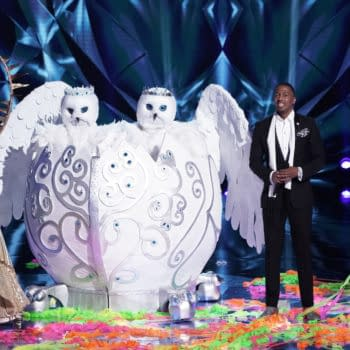 """THE MASKED SINGER: L-R: Sun, The Snow Owls, host Nick Cannon and Popcorn in the """"The Group A Finals – The Masked Frontier"""" episode of THE MASKED SINGER airing Wednesday, Nov. 11 (8:00-9:00 PM ET/PT) on FOX. © 2020 FOX MEDIA LLC. CR: Michael Becker/FOX."""