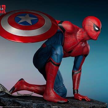 Spider-Man Dons Captain Americas Shield in New Queen Studios Statue