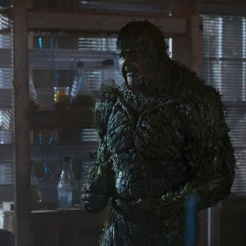 """Swamp Thing -- """"The Price You Pay"""" -- Image Number: SWP106b_0130 V1 -- Pictured: Derek Mears as Swamp Thing -- Photo: Fred Norris / 2020 Warner Bros. Entertainment Inc. -- © 2020 Warner Bros. Entertainment Inc. All Rights Reserved."""