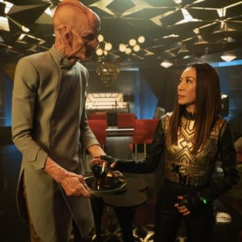 """""""Terra Firma, Part 2"""" — Ep#310 — Pictured: Doug Jones as Saru and Michelle Yeoh as Georgiou of the CBS All Access series STAR TREK: DISCOVERY. Photo Cr: Michael Gibson/CBS ©2020 CBS Interactive, Inc. All Rights Reserved."""