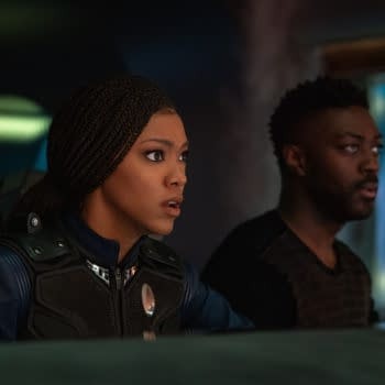 """""""There Is A Tide..."""" — Ep#312 — Pictured (L-R): Sonequa Martin-Green as Commander Burnham and David Ajala as Book of the CBS All Access series STAR TREK: DISCOVERY. Photo Cr: Michael Gibson/CBS ©2020 CBS Interactive, Inc. All Rights Reserved."""