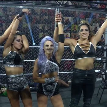 Candice LeRae's team stands tall at the end of the women's match at NXT Takeover WarGames