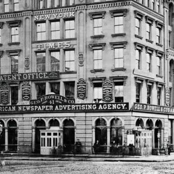 The New York Times Building, Park Row, circa 1873. Tim Flynn's Billiard Hall basement entrance visible foreground right.