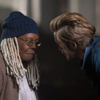 """""""The Vigil"""" — Ep#106 —Pictured: Whoopi Goldberg as Mother Abigail and Alexander Skarsgård as Randall Flagg of the CBS All Access series THE STAND. Photo Cr: Robert Falconoer/CBS ©2020 CBS Interactive, Inc. All Rights Reserved."""