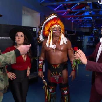 Mickie James appears with WWE legends Sgt. Slaughter and Tatanka in a segment with Angel Garza on Raw Legends night.