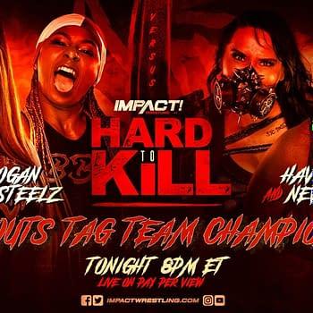 Match graphic for Tasha Steelz and Kiera Hogan vs. Havok and Neveah at Impact Hard to Kill