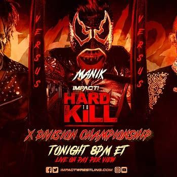 Match graphic for Chris Bey vs. Rohit Raju vs. Manik at Impact Hard to Kill