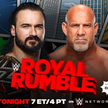 Match graphic for Drew McIntyre vs. Goldberg at the WWE Royal Rumble