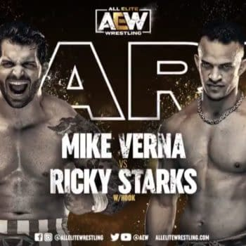 Mike Verna vs. Ricky Starks match graphic for next week's AEW Dark, airing Tuesday at 7PM Eastern on YouTube