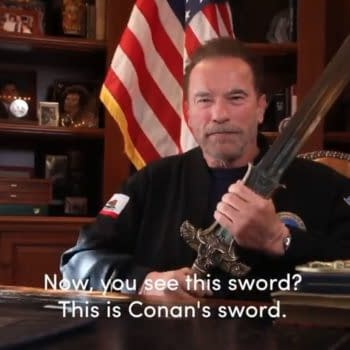 Arnold Schwarzenegger picks up the sword of Conan the Barbarian to defend America