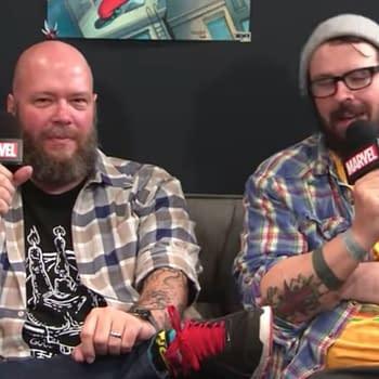 Matthew Rosenberg (right) appears on a Marvel video with fellow comics elite Jason Aaron