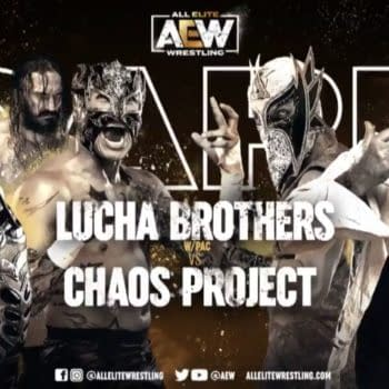 Match graphic for Lucha Brothers vs. Chaos Project, happening next week on AEW Dark