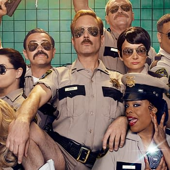 Reno 911 S08: Thomas Lennon Jamie Lee Curtis Get Up Close &#038 Personal