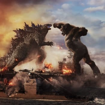 "Copyright: © 2021 LEGENDARY AND WARNER BROS. ENTERTAINMENT INC. ALL RIGHTS RESERVED. GODZILLA TM & © TOHO CO., LTD. Photo Credit: Courtesy of Warner Bros. Pictures and Legendary Pictures. Caption: (L-r) GODZILLA battles KONG in Warner Bros. Pictures' and Legendary Pictures' action adventure ""GOZILLA VS. KONG,"" a Warner Bros. Pictures and Legendary Pictures release."