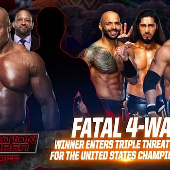 Match graphic for the Fatal 4-Way to decide the replacement for Keith Lee at Elimination Chamber.