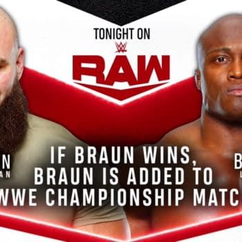 Match graphic for Braun Strowman vs. Bobby Lashley on WWE Raw.
