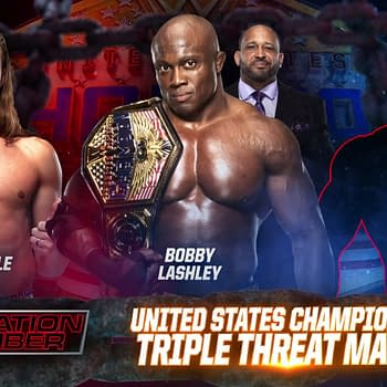 Elimination Chamber match graphic for Bobby Lashley vs. Riddle vs. a mystery person who turned out to be John Morrison for the United States Championship.